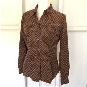 GUESS Cotton Western Style Plaid Top